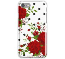 Pattern with abstract red flowers. Rose vintage background iPhone Case/Skin