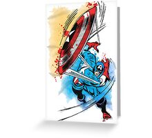 Captain America in action Greeting Card