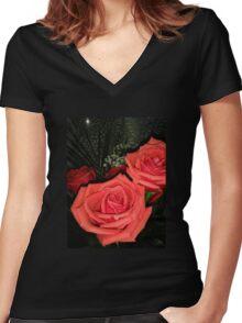 Roses 3 Women's Fitted V-Neck T-Shirt
