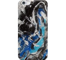 Blue and Black Contemporary Art, Abstract Mixed Media Design iPhone Case/Skin