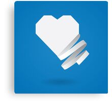 Paper heart with ribbon Canvas Print