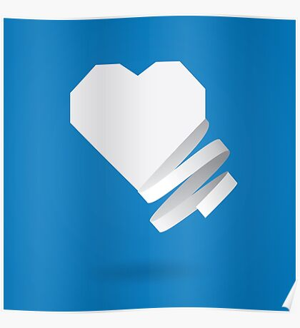 Paper heart with ribbon Poster