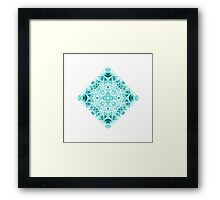 """""""Spirit of India: Magic Diamond"""" in white and blue-turquoise Framed Print"""