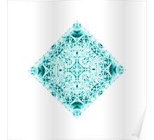 """Spirit of India: Magic Diamond"" in white and blue-turquoise Poster"
