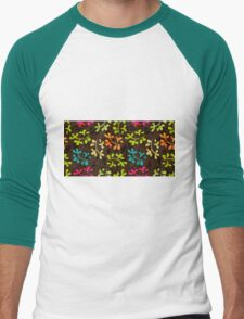 Cute floral pattern with leaves Men's Baseball ¾ T-Shirt