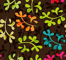 Cute floral pattern with leaves by LourdelKaLou