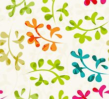 Floral pattern with cute leaves by LourdelKaLou
