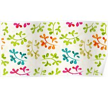 Floral pattern with cute leaves Poster