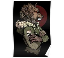 Wolf Rising Brown Poster
