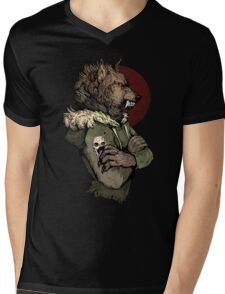 Wolf Rising Brown Mens V-Neck T-Shirt