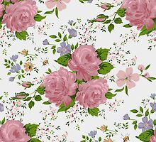 Floral pattern with pink roses. Vintage style by LourdelKaLou