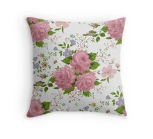 Floral pattern with pink roses. Vintage style Throw Pillow
