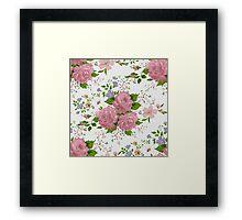 Floral pattern with pink roses. Vintage style Framed Print