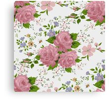 Floral pattern with pink roses. Vintage style Canvas Print