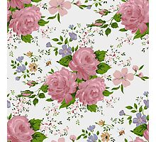 Floral pattern with pink roses. Vintage style Photographic Print