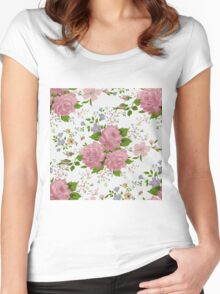 Floral pattern with pink roses. Vintage style Women's Fitted Scoop T-Shirt
