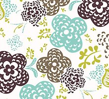 Seamless floral pattern with cute flowers on a white background by LourdelKaLou