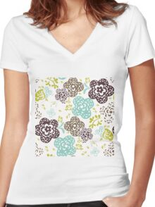 Seamless floral pattern with cute flowers on a white background Women's Fitted V-Neck T-Shirt