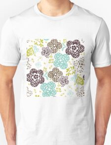 Seamless floral pattern with cute flowers on a white background Unisex T-Shirt