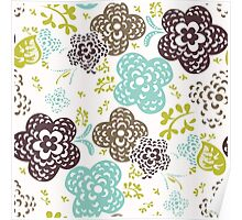 Seamless floral pattern with cute flowers on a white background Poster