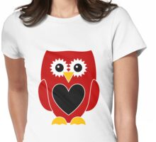 Red Owl with Black Heart Womens Fitted T-Shirt
