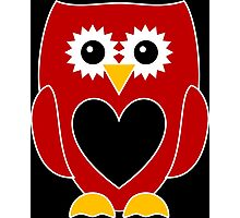 Red Owl with Black Heart Photographic Print