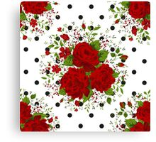 Seamless pattern with red roses on design background Canvas Print