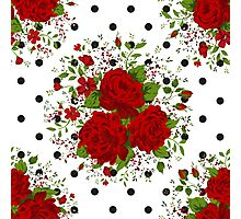 Seamless pattern with red roses on design background Photographic Print