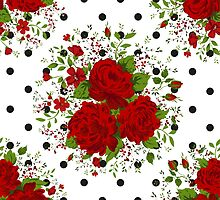 Seamless pattern with red roses on design background by LourdelKaLou
