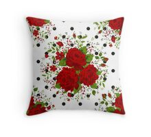 Seamless pattern with red roses on design background Throw Pillow