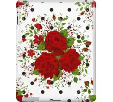 Seamless pattern with red roses on design background iPad Case/Skin