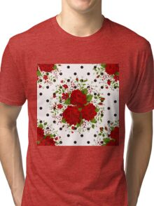 Seamless pattern with red roses on design background Tri-blend T-Shirt