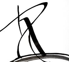 Calligraphy Art, Black & White Abstract Art, Japanese-Inspired  Ink Pianitng by ShiningEyeArts