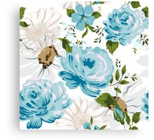 Beautiful blue roses pattern on a white background.  Canvas Print