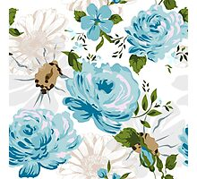 Beautiful blue roses pattern on a white background.  Photographic Print