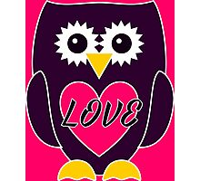 Purple Owl with Pink Heart - LOVE Photographic Print