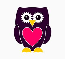 Purple Owl with a Pink Heart Womens Fitted T-Shirt