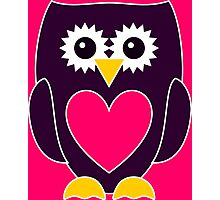 Purple Owl with a Pink Heart Photographic Print