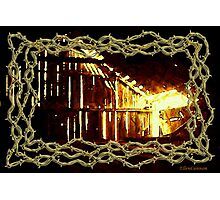 Barnlight and Barbed Wire Photographic Print