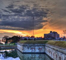 Sunset View of Moat at Fort Monroe by lookherelucy