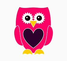 Pink Owl with Purple Heart Womens Fitted T-Shirt
