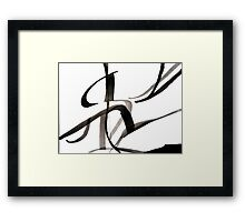 Calligraphic Design, Black & White Japanese-Inspired Calligraphy, Abstract Art Framed Print