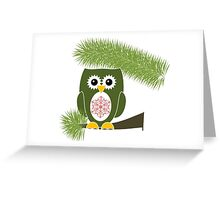 Green Owl with Red Snowflake  Greeting Card