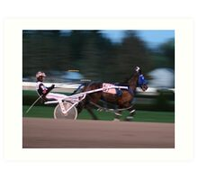 A day at the harness races in Saratoga, New York. Art Print