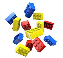 Falling Toy Bricks Photographic Print