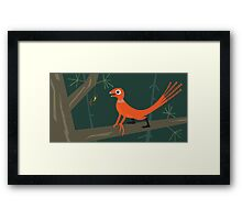 Epidexipteryx and orb weaver spider Framed Print