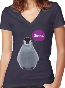 Meow. Women's Fitted V-Neck T-Shirt