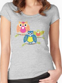 owls branch T-shirt  Women's Fitted Scoop T-Shirt