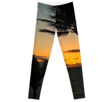 Hawaiian Palm Tree Sunset Silhouette Leggings