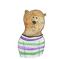 Hipster Bear Photographic Print
